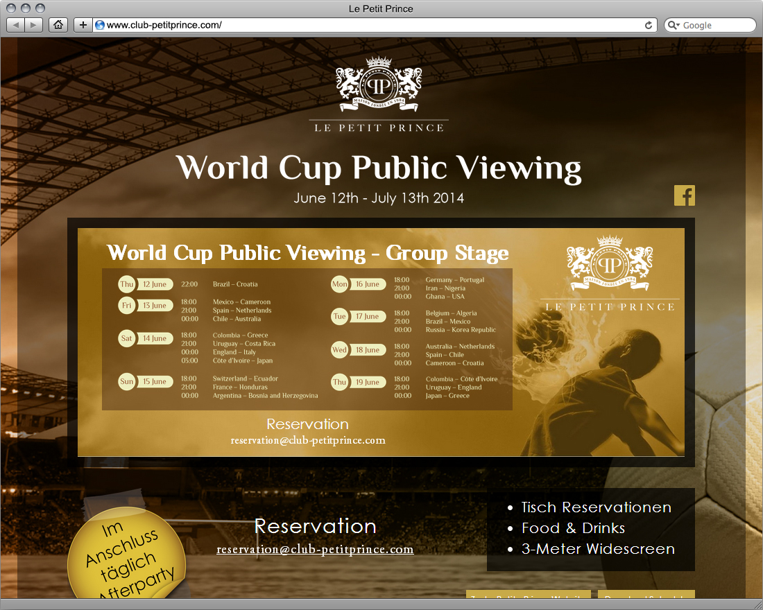 Desktop Landing Page - World Cup Public Viewing